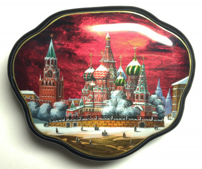 120x100mm Moscow Snt Basil Cathedral and Red Square hand painted lacquered jewelery box (by Tatiana Shkatulka Crafts)