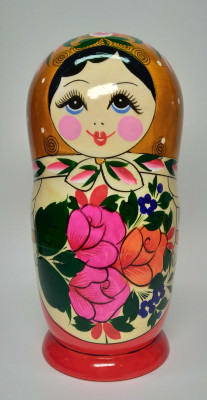 205 mm Golden Head Semenovskaya handpainted wooden Matryoshka Doll 8 pcs (by Ivan Studio)
