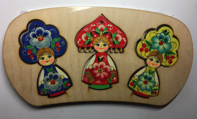 Russian Kokoshnik Dolls Christmas Tree Ornaments set of 3 pcs (by Andrey Studio)