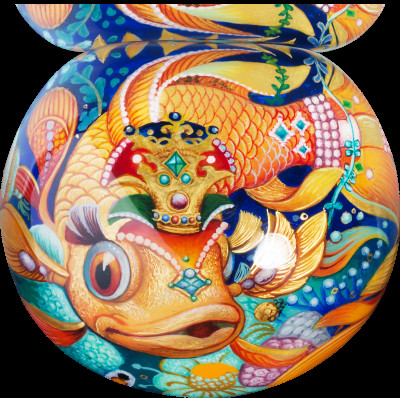 Magic Fish Hand Painted Jewelery Papier-mache Box (by Pavel Studio)