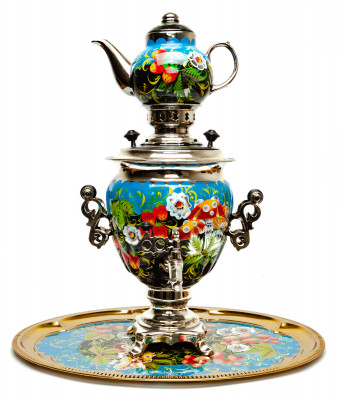 Mushrooms Hand Painted Electric Samovar Kettle with Teapot and Tray