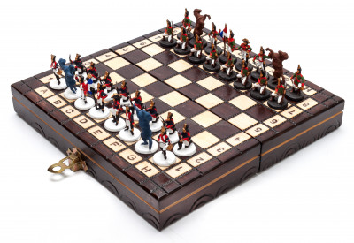 The Battle of Waterloo Tin Soldiers Hand Painted Chess Pieces on Wooden Chess Board