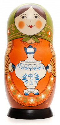 230 mm Mistress with Gzhel Dishes hand painted Traditional Russian Wooden Matryoshka doll 7 pcs (by Igor Malyutin)