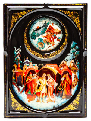 110x150mm At The Pike's Behest hand painted lacquered box from Palekh (by Pavel Studio)
