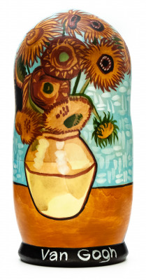 180 mm Sunflowers by van Gogh hand painted on wooden Matryoshka doll 5 pcs (by Alexander Famous Paintings Studio)