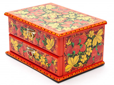 170x130 mm Khokhloma Painting Jewellery Wooden Box
