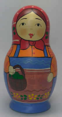 110 mm Maiden with a Basket of Apples hand painted Traditional Russian Wooden Matryoshka doll 5 pcs (by Igor Malyutin)