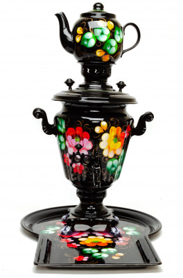 Zhostovo Hand Painted Electric Samovar Kettle with Teapot and Tray