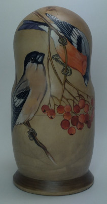 160mm Eurasian Bullfinch hand painted Matryoshka 5pcs (by Alexander Famous Paintings)