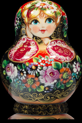 100 mm Zhostovo Patterns hand painted wooden Matryoshka doll 10 pcs (by Olga)