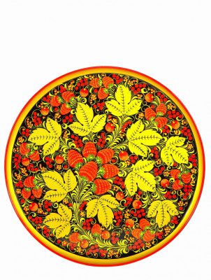 400x20 Golden Khokhloma Floral handpainted Ornaments Wall Plate wooden Tray d 400