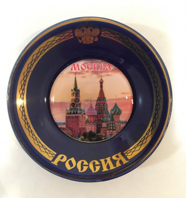 Red Square Moscow picture on round ceramic plate