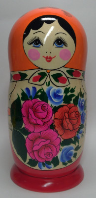 230 mm Orange Head Semenovskaya handpainted wooden Matryoshka Doll 9 pcs (by Ivan Studio)