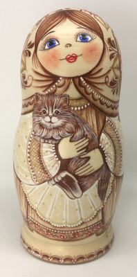 5 pcs Little Girls playing with Cats hand painted Matryoshka dolls (by A Studio)