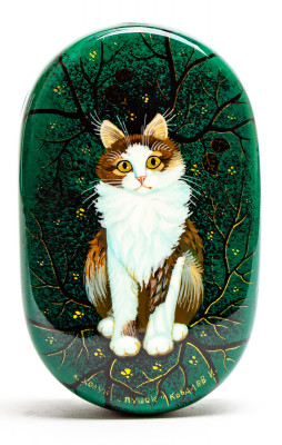 60x100 mm the Cat Hand Painted Jewellery Box (by Sadko Workshop)