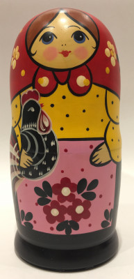 Black Chicken Hand Painted Matryoshka Doll 5 pcs