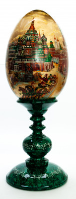 680mm Saint Basil Cathedral hand painted on red colored wooden Egg with standby (by Tatiana Crafts)