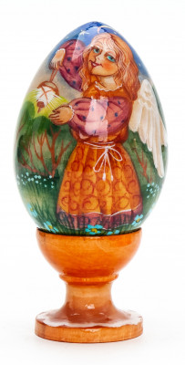 100mm Angel with a Lamp handpainted wooden Egg with standby (by Andrey Christams Ornaments Studio)