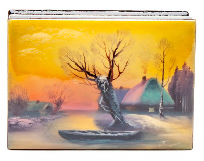 50x70mm Russian Winter Hand Painted Jewellery Box (by Tatiana Shkatulka Crafts)
