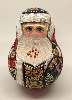 100 mm Santa Claus hand carved and painted wooden roly poly statue (by Natalia Workshop)