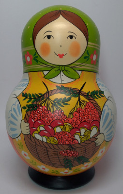 190 mm Mistress with Backet of Berries and Mushrooms hand painted Traditional Russian Wooden Matryoshka round doll 10 pcs (by Igor Malyutin)