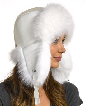 U Polar Fox Fur Bomber Hat with Leather Top (different colors)