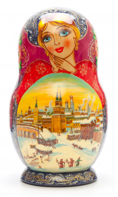 240 mm Moscow Kremlin hand painted on Wooden Matryoshka doll 10 pcs (by Valeria Crafts)