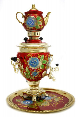 Cornflower Hand Painted Electric Samovar Kettle with Teapot and Tray