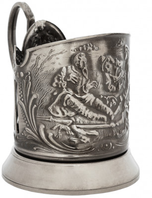 The Hunters at Rest Nickel Plated Brass Tea Glass Holder with Faceted Glass (by Kolchugino)