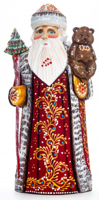 230 mm Santa with a Magic Staff and a Bear handpainted Wooden Carved Statue (by Natalia Nikitina Workshop)