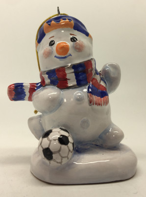 Snowman plays Football hand painted Ceramic Statue (by Maiolica)