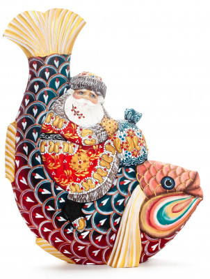 260 mm Santa Claus with a Bag Riding the Fish Carved Wood Hand Painted Collectible Figurine  (by Natalia Nikitina Workshop)