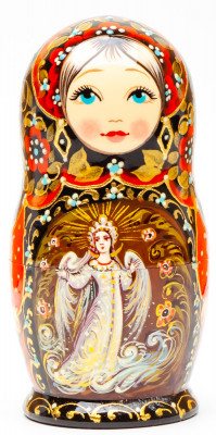 110 mm The Swan Princess hand painted on wooden Matryoshka doll 5 pcs (by A Studio)