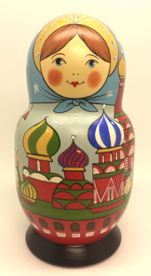 170 mm Mpscow Kremlin Winter Holidays hand painted wooden Matryoshka doll 5 pcs (by Malutin Studio)