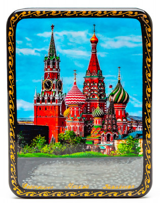 80x100mm Saint Basil Cathedral Hand Painted Jewellery Box (by Tatiana Shkatulka Crafts)