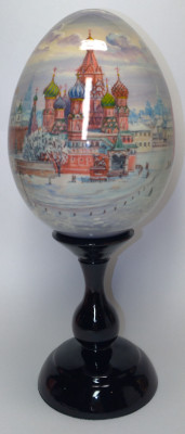 240 mm Red Square hand painted all round wooden Egg (by Andrey Studio)
