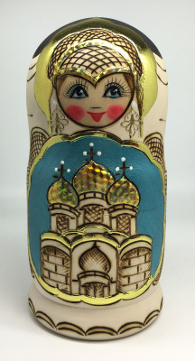 190 mm Moscow Cathedral Burnt Wood Matryoshka Doll 5 pcs inside (by Tabrik Studio)