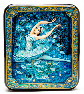 120x140mm The Swan Lake Ballet Hand Painted Jewellery Box (by Sadko Workshop)