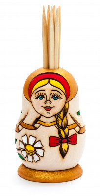 100 mm Wooden Toothpick in hand painted Matryoshka Holder (by Maya)