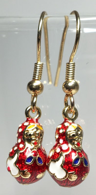 8x30 mm Russian Matryoshka Enemal Earrings (by AKM Gifts)