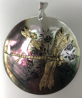 d60 mm Dragonflies hand painted Nacre Pendant (by Tatiana Shkatulka Crafts)