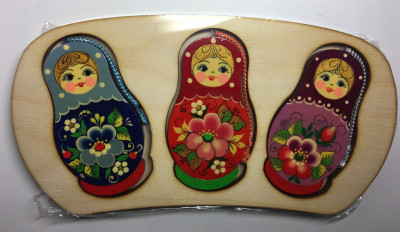 Russian Matryoshka Nesting Dolls Christmas Tree Ornaments set of 3 pcs (by Andrey Studio)