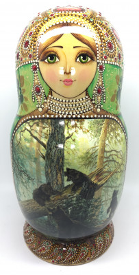 290 mm Morning in the Wood and other Shishkin famous pictures hand painted on Wooden Matryoshka doll 10 pcs green (by Natalia crafts)