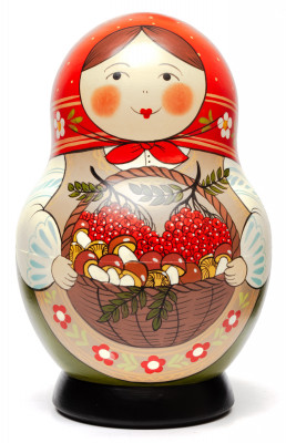 190 mm Maiden with the Basket of Berries and Mushrooms hand painted Traditional Russian Wooden Matryoshka round doll 10 pcs (by Sergey Malyutin)