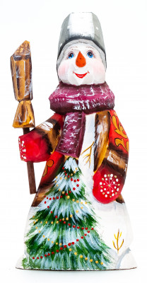 160 mm Snowman with a Broom hand painted wooden figurine (by Natalia Nikitina Workshop)