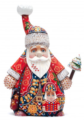 240 mm Santa Claus hand carved and painted wooden figure in a Red Cap (by Natalia Workshop)
