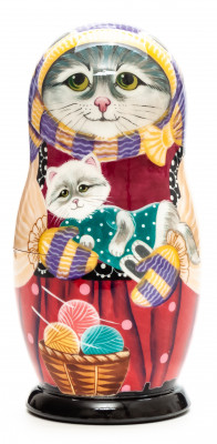 130 mm Cat with a Kitten oh her hands hand painted wooden Matryoshka 5 pcs (by Vasily )