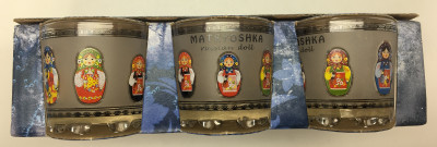 50 ml Russian Matryoshka Decal Faceted Shot Glass set of 6 pcs (by AKM Gifts)