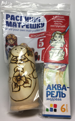 110 mm Blanc Matryoshka With Kokoshnik doll 5 pcs inside with paints, brushes, instruction manual (by Sergey Carved Wooden Dolls)