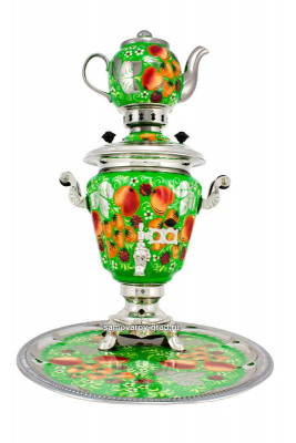 Apple Hand Painted Electric Samovar Kettle with Teapot and Tray